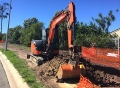 Cutting a footpath in the 8t excavator - Ipswich