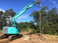 14t digger drilling 8.6m deep piers - Kenmore Hills